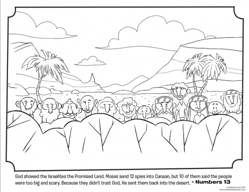 kids coloring page from whats in the bible featuring the 12 spies in canaan from numbers 13 volume 3 wanderin in the desert