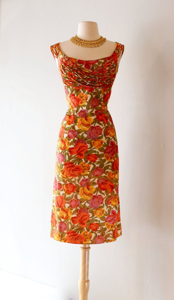 a541f736c84 Vintage 1950 s Floral Print Wiggle Dress with Shelf Bust and String Sleeves  ~ Vintage 50s Miami Casuals Floral Cocktail Dress