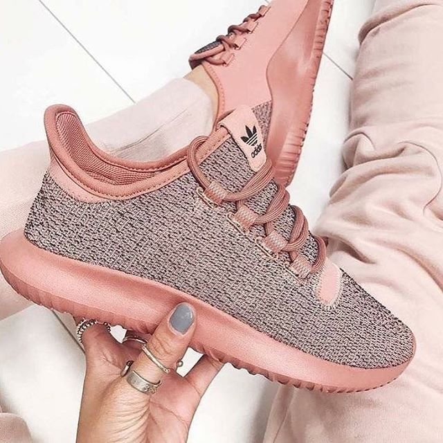 Peach and grey sneakers