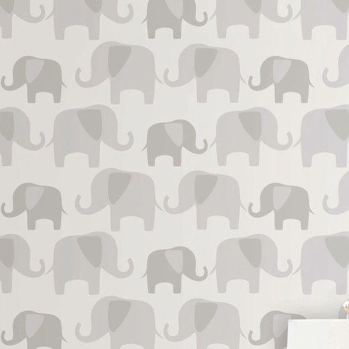 Nuwallpaper gray elephant parade peel and stick wallpaper nursery baby kids