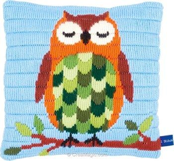 Kit coussin Vervaco au point lancé hibou dormant