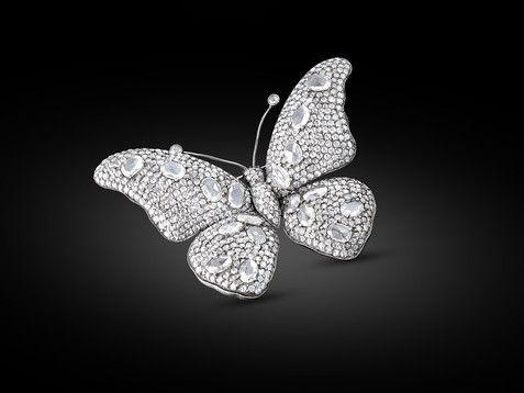 Estate Jewelry, Diamond Brooch, Butterfly Brooch ~ M.S. Rau Antiques