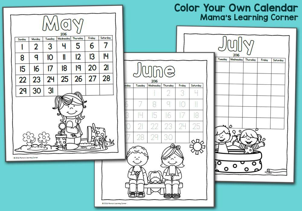 color fun printable calendar for kids 2016 pinterest printable
