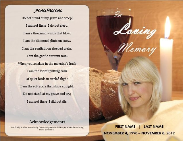 Toast for Departed Printable Funeral Program Templates Pinterest