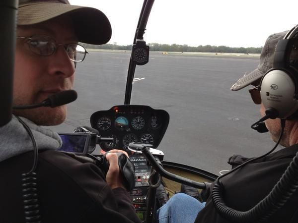 Mark Stitzer just before taking off to film San Antonio from the air. 11/16/12