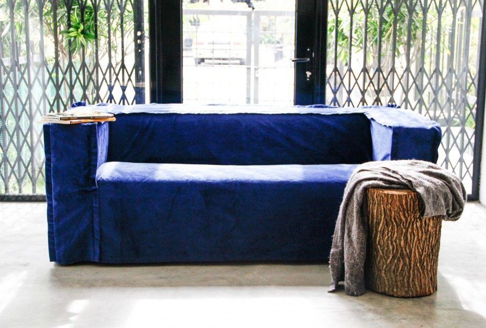 Small Sectional Sofa Klippan in Rouge Indigo Velvet blends Customise your own IKEA Klippan sofa cover