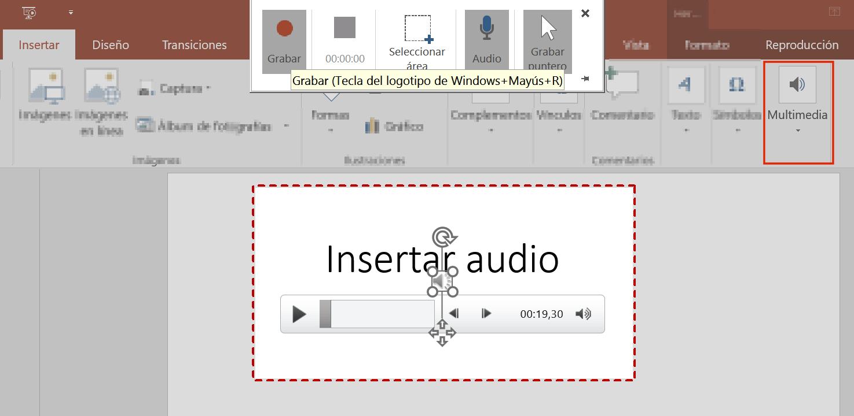 insertar elementos multimedia de Audio y Vídeo en Powerpoint