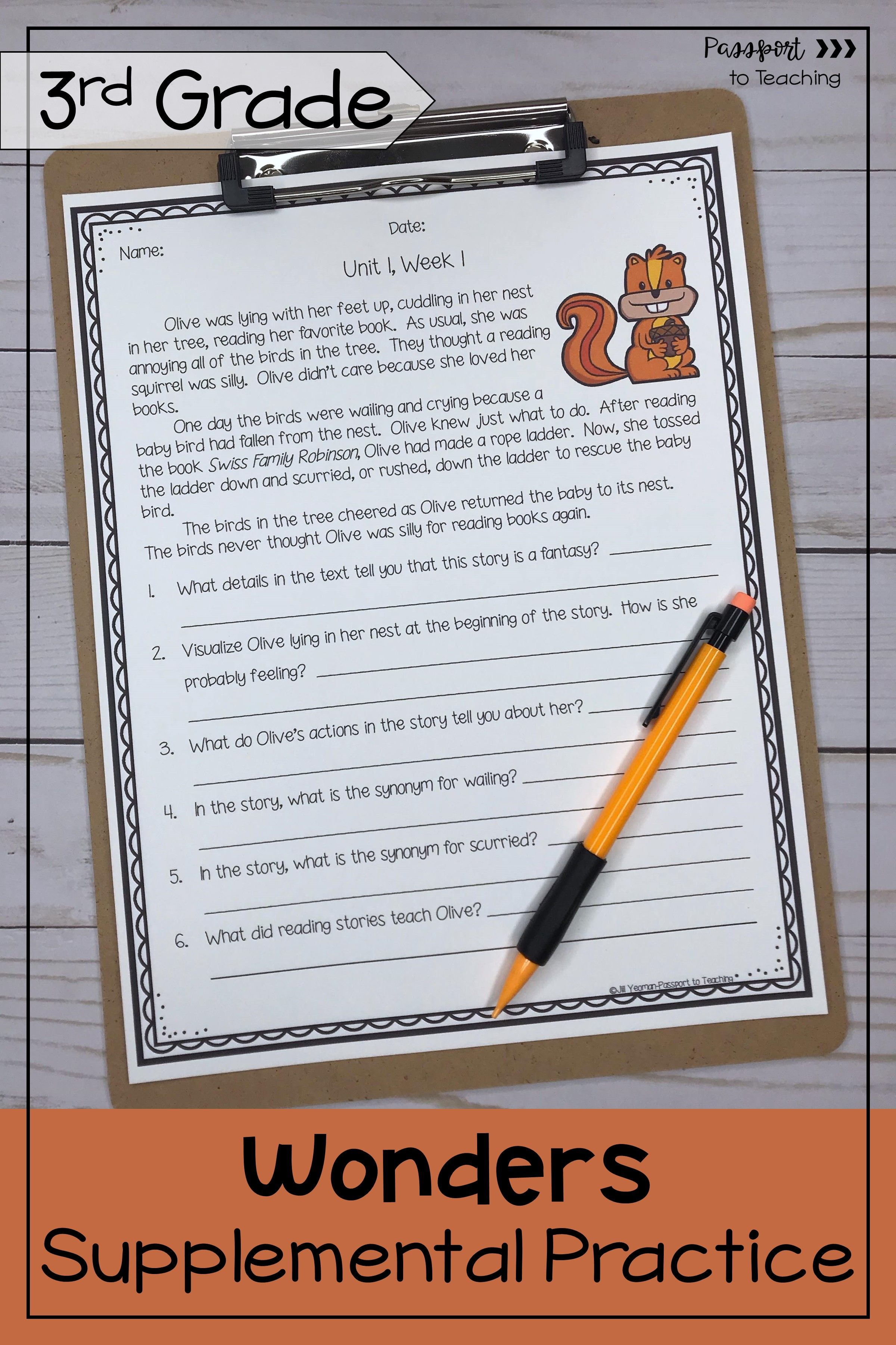 3rd Grade Wonders Weekly Reading Worksheets Bundle