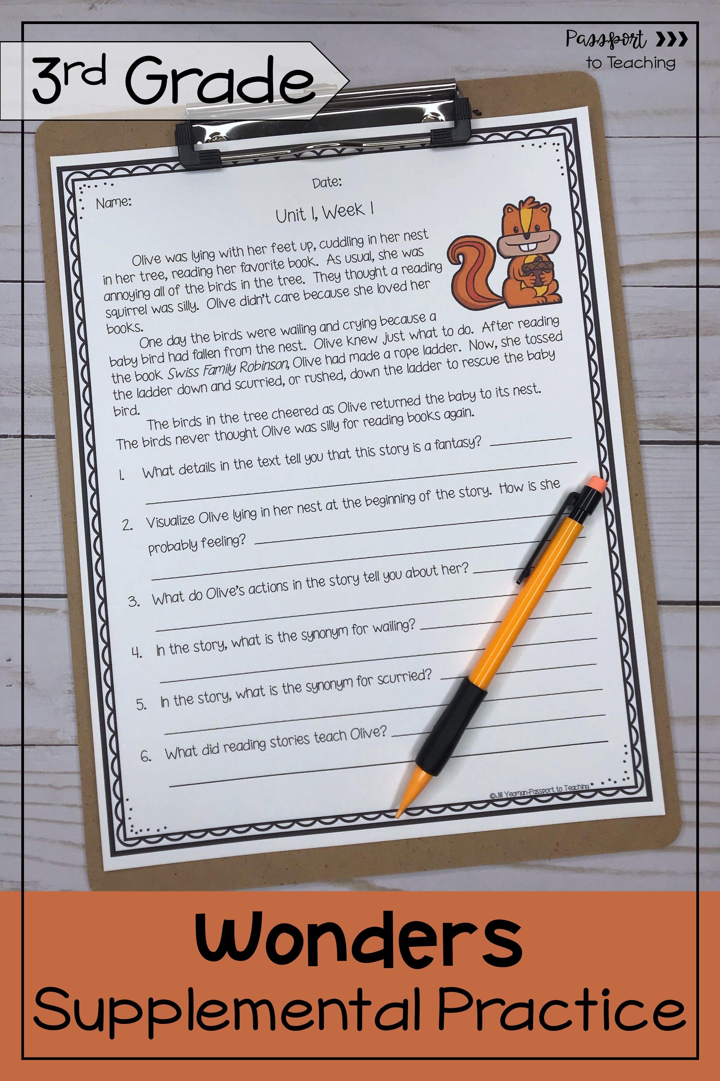 3rd Grade Wonders Weekly Reading Worksheets Bundle