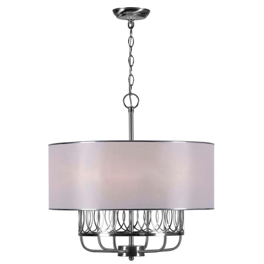World Imports Venn 6 Light Brushed Nickel Chandelier