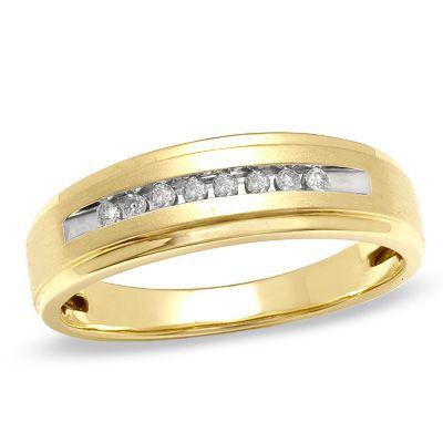 Men S 1 10 Ct T W Diamond Wedding Band In 10k Gold Mens Gold Wedding Band Mens Wedding Rings Mens Diamond Wedding Bands