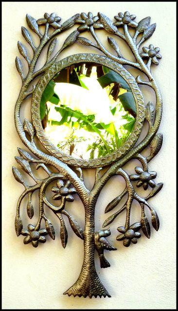 Metal Mirror Wall Hanging - Tree Design - Handcrafted Haitian Metal ...