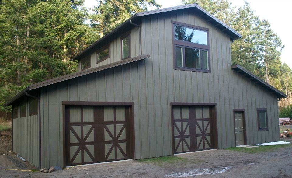 Monitor style garage shop on lopez island wa constructed for Monitor style pole barn