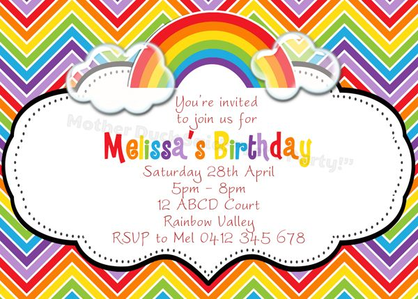 Rainbow Party Invitations Templates Free Chevron Over The