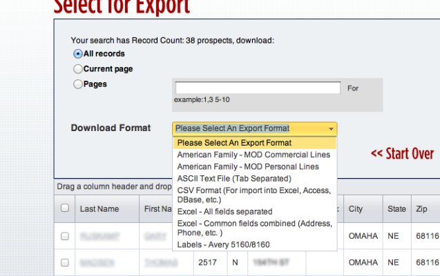 Export List Options Via Cole X Dates List Insurance Agent
