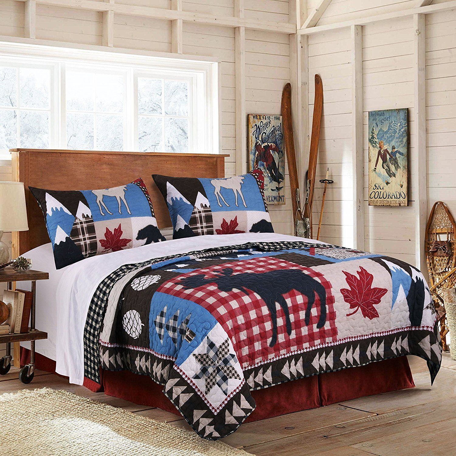 3 Piece Blue White Red Black Hunting Themed Quilt Full Queen Set