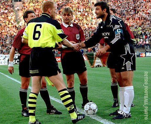 "Football photos and video on Instagram: ""Matthias #Sammer, Angelo #Peruzzi and referee Sandor Puhl before the kick-off 1997 UEFA Champions League final #borussi…"