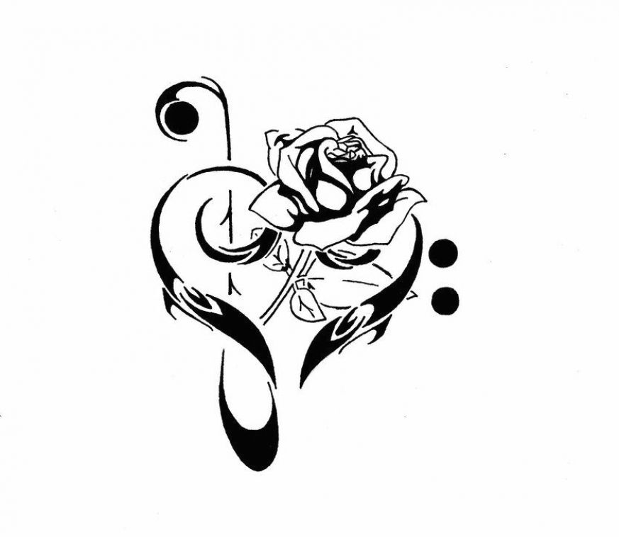 Treble clef with a rose by Karcoolkaaa on DeviantArt