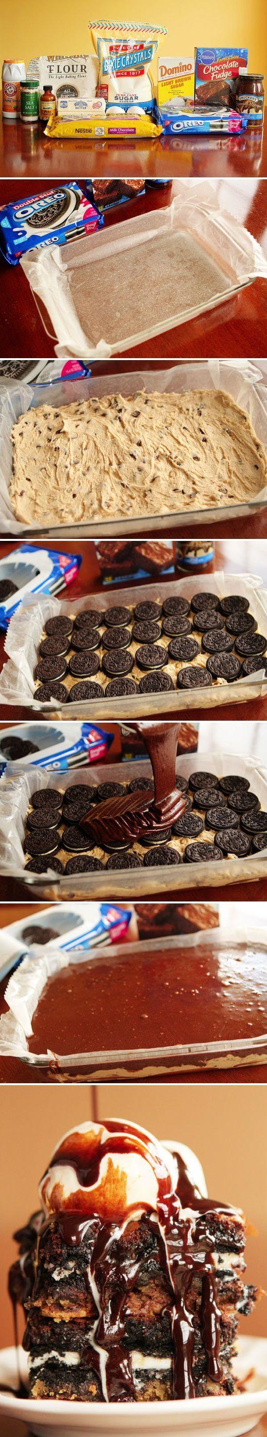 Ultimate Chocolate Chip Cookie n' Oreo Fudge Brownie Bar ...
