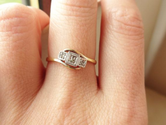 Antique Geometric Diamond Trilogy Ring Art Deco by luxedeluxe   @Christine Ballisty McRee