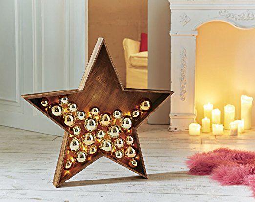 Weihnachtsdeko Led Stern Goldene Kugeln Beleuchtet Holz Kunststoff