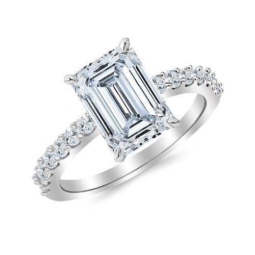 GIA Certified 0.92 Carat Emerald Cut/Shape 14K White Gold Classic Sidestone Diamond Engagement Ring with a 0.47 Carat, D-E Color, VS1 Clarity Center Stone, http://www.amazon.com/dp/B00KFPYFEM/ref=cm_sw_r_pi_awdm_1cqgwb1HR7BF9