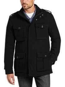 b4fd94bbaa99 Egara Black Four-Pocket Modern Fit Car Coat | Men's Fashion | Coat ...