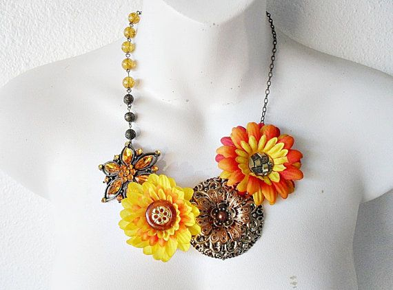 Colors  Floral Statement Necklace by TheLastBranch on Etsy, $22.00