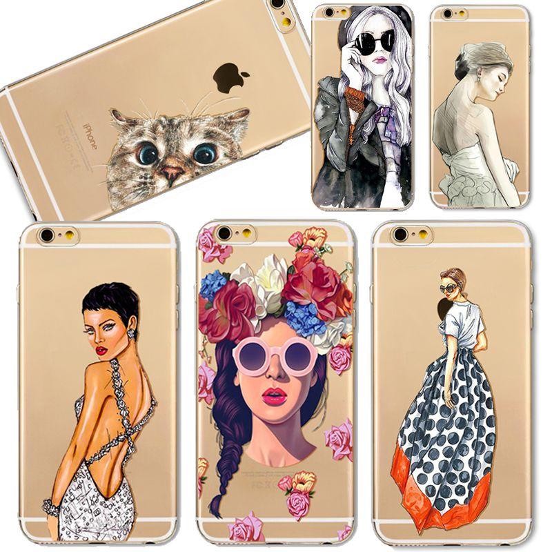 Voor iPhone 7 6 6 S 5 5 S SE 6 Plus 6 sPlus 7 Plus Case Cover Kat Moderne Jurk Meisje Transparante Zachte Silicon Mobiele Telefoon Bag Fundas