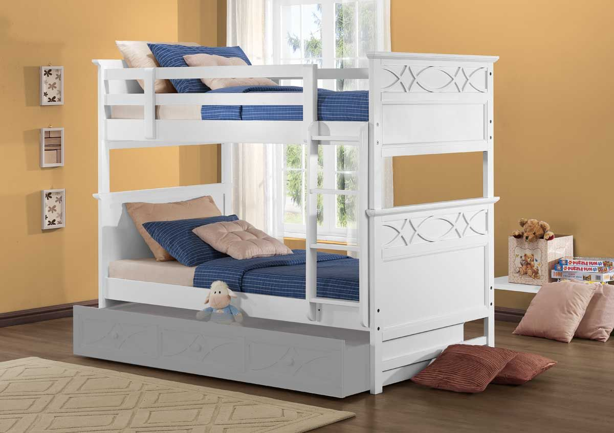 Homelegance Sanibel Bunk Bed White White Bunk Beds