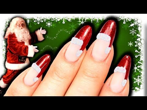 no tools santa hat nail art  diy easy christmas nails