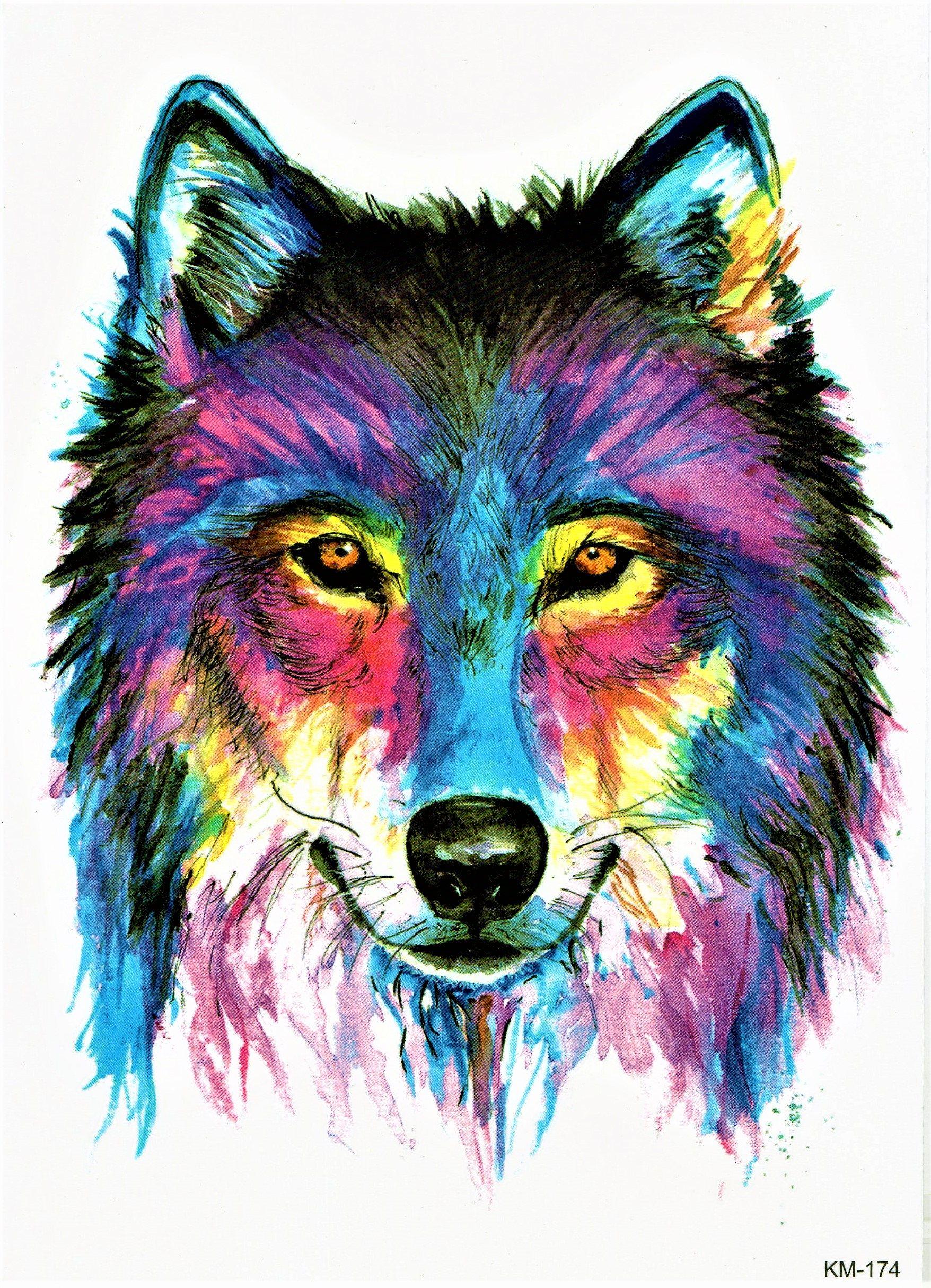 65acba5ca0801 Wolf Blut Tier Jagd Wild Toll Bunt Malerei Temporary Temporäre Klebe Einmal  Tattoo 15 x 21 cm KM174 von OneWeekTattoos auf Etsy