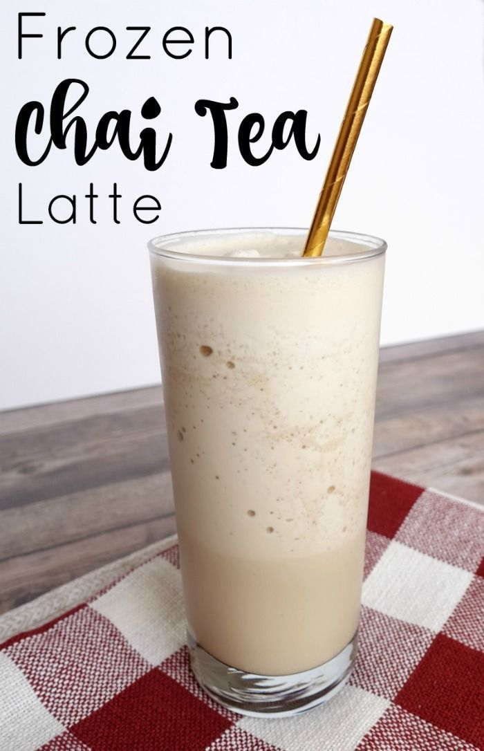 Frozen Chai Tea Latte recipe. Easily make this yummy coffee drink at home in minutes!
