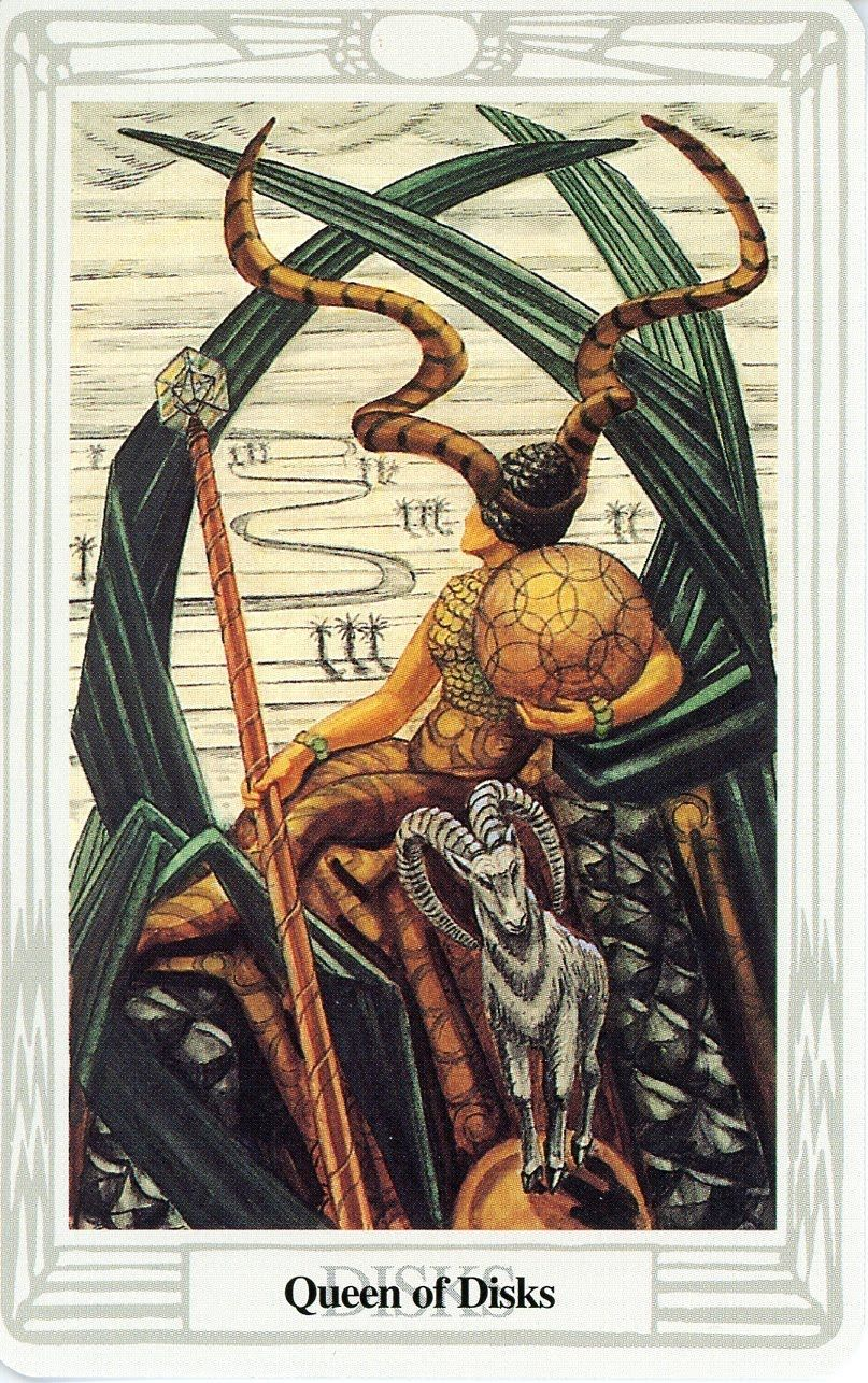 Thoth Death Tarot Card Tutorial: Queen Of Disks, Book Of Thoth Tarot (Aleister Crowley And
