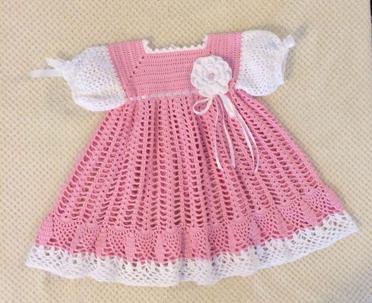 Rosa Baby Mädchen Kleid häkeln von MadinasCrochet auf Etsy ...