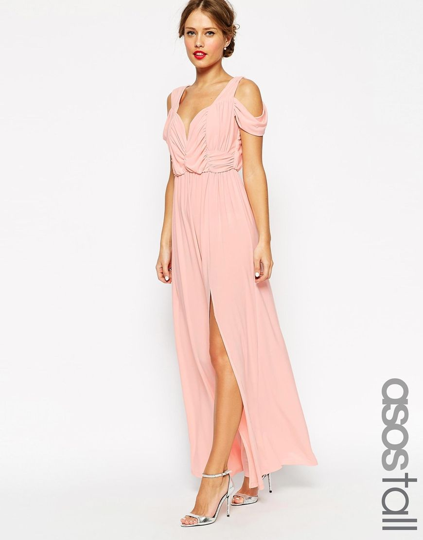 Image 1 of asos tall wedding drape cold shoulder maxi for Tall dresses for weddings