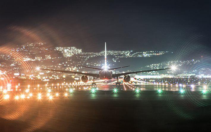 Airport Airliner Night Runway Desktop Pictures Airplane