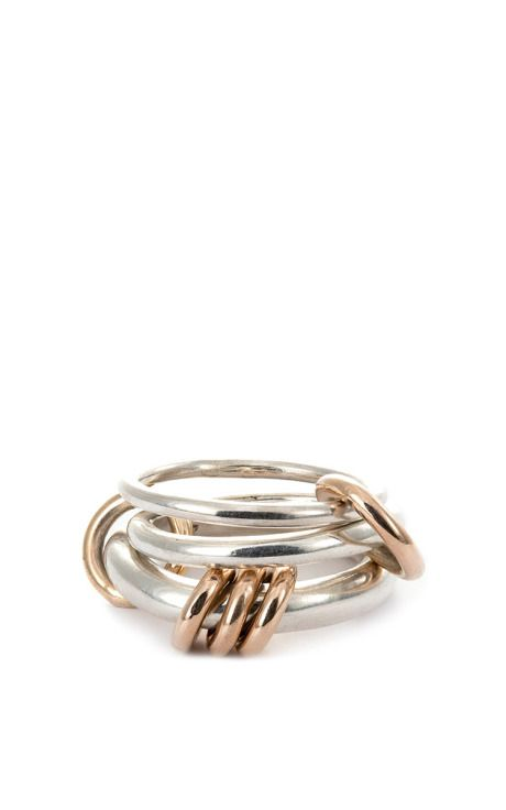 Spinelli Kilcollin Orion sterling silver and 18k gold linked rings ovJ3yaKdt