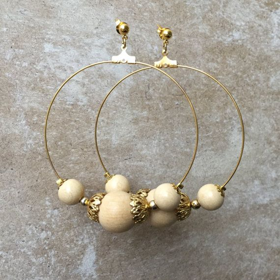 gold hoop earrings beaded earrings wooden bead by tinkathelabel