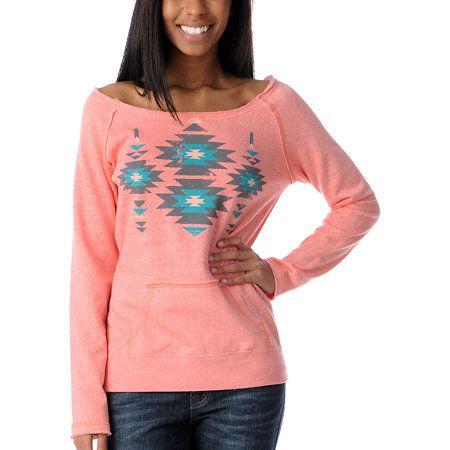 Empyre Girl Urbana Coral Native Pullover Crew Neck Sweatshirt