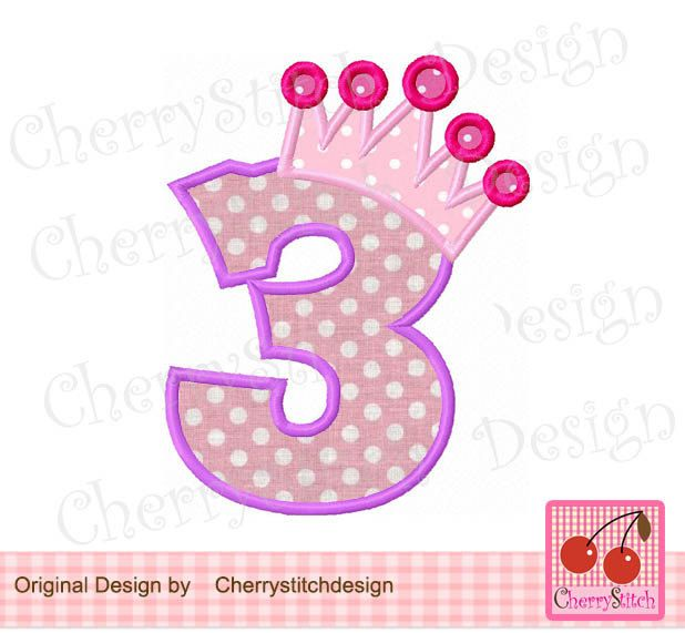 Number 3 with Crown Birthday Machine Embroidery Applique ...