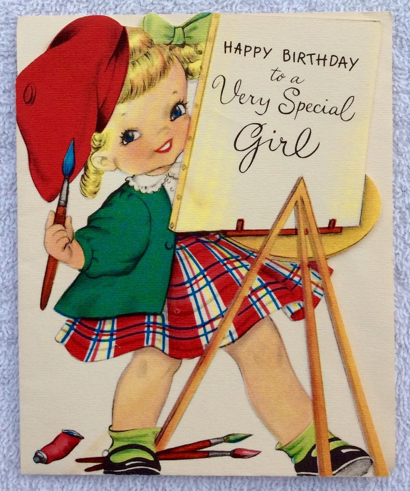 Old fashioned birthday greetings gallery greeting card examples cute scottish little girl painting easel baret 1950s vintage cute scottish little girl painting easel baret bookmarktalkfo Image collections
