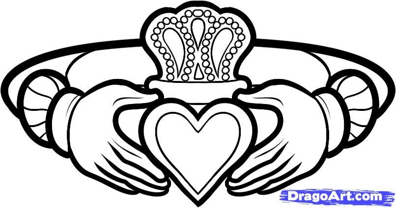 How To Draw A Claddagh Ring Claddagh Ring Tattoo Step 9 Tattoos