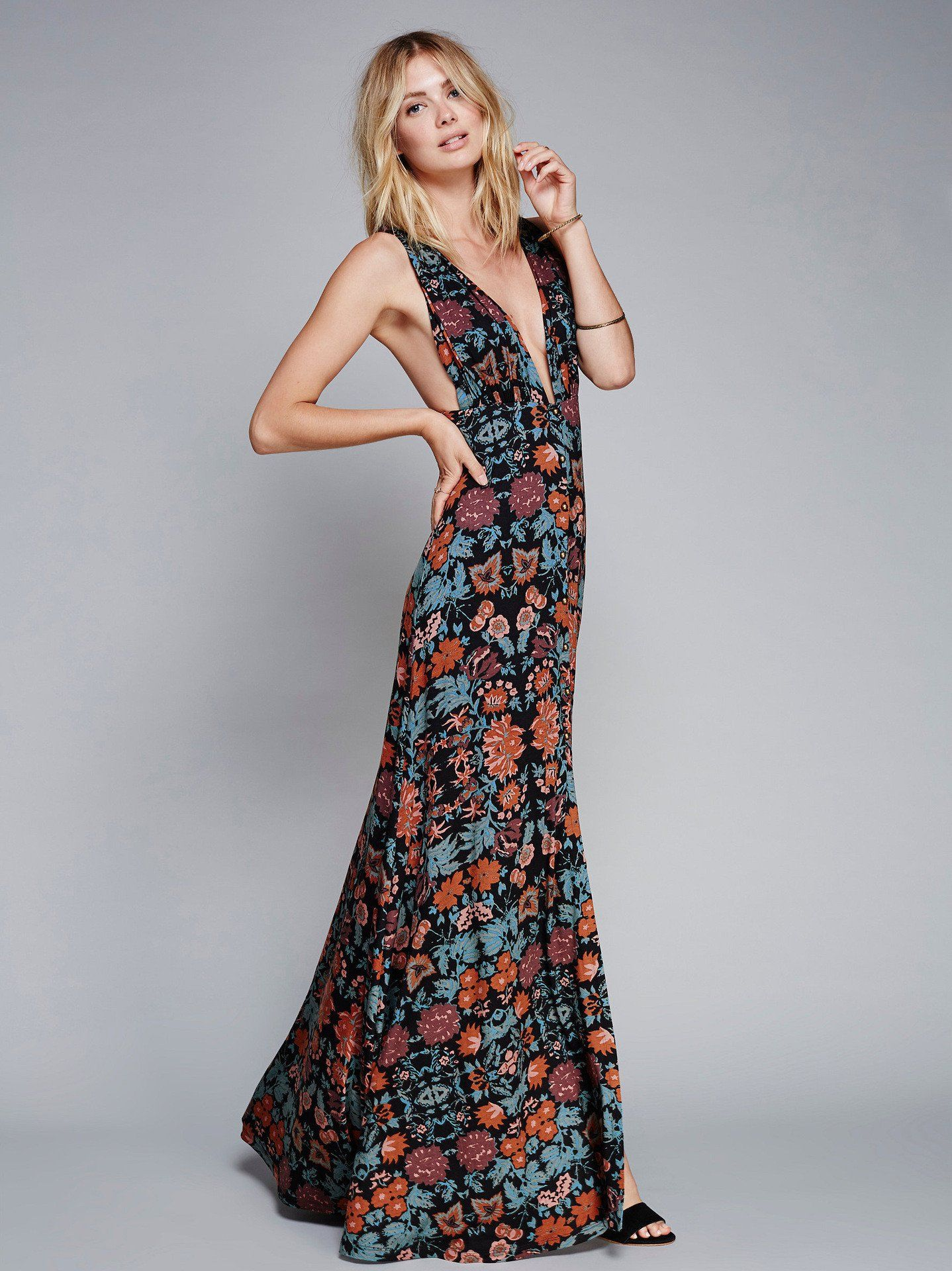 Deep vneck bohemian floral maxi dress in products
