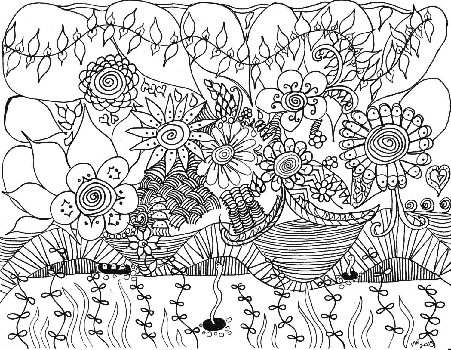 Spring Zentangle Coloring Page By Inspirationbyvicki On Etsy
