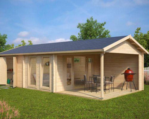 Gartenhaus mit 2 Zimmern Rio 22m² / 58mm / 4x9m Summer