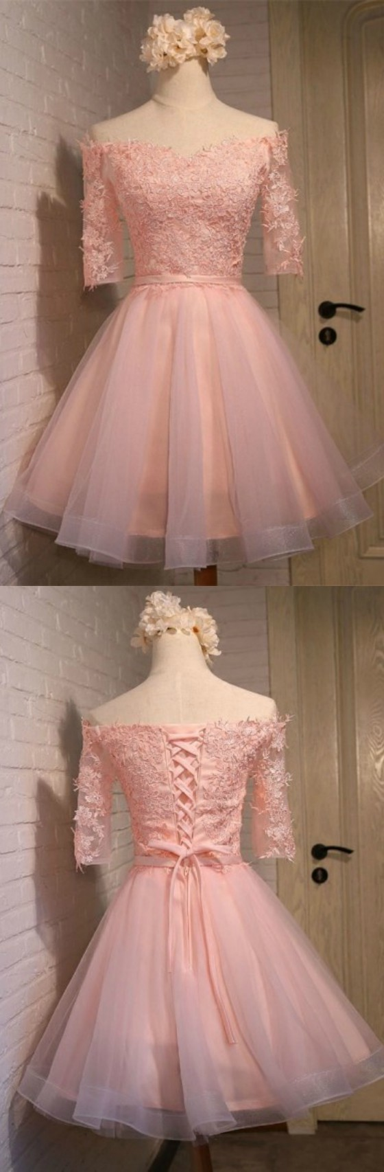pink homecoming dresses with off the shoulder sleeves short