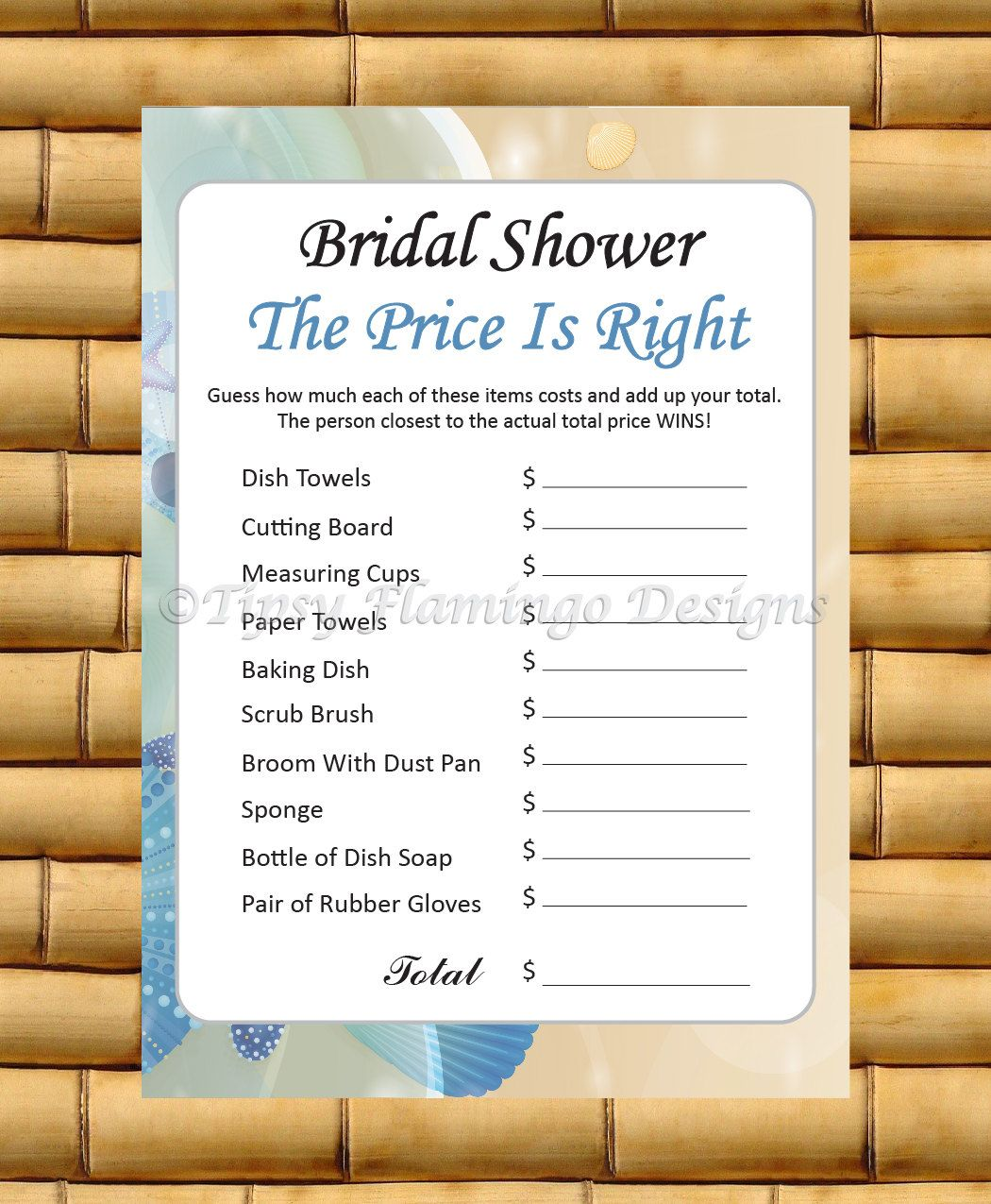 beach theme bridal shower game the price is right ocean theme sand shells wedding shower printable instant download tfd279 by