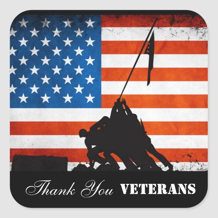 Thank You Veterans Square Sticker Zazzle Com Thank You Veteran Veterans Day Thank You Veteran