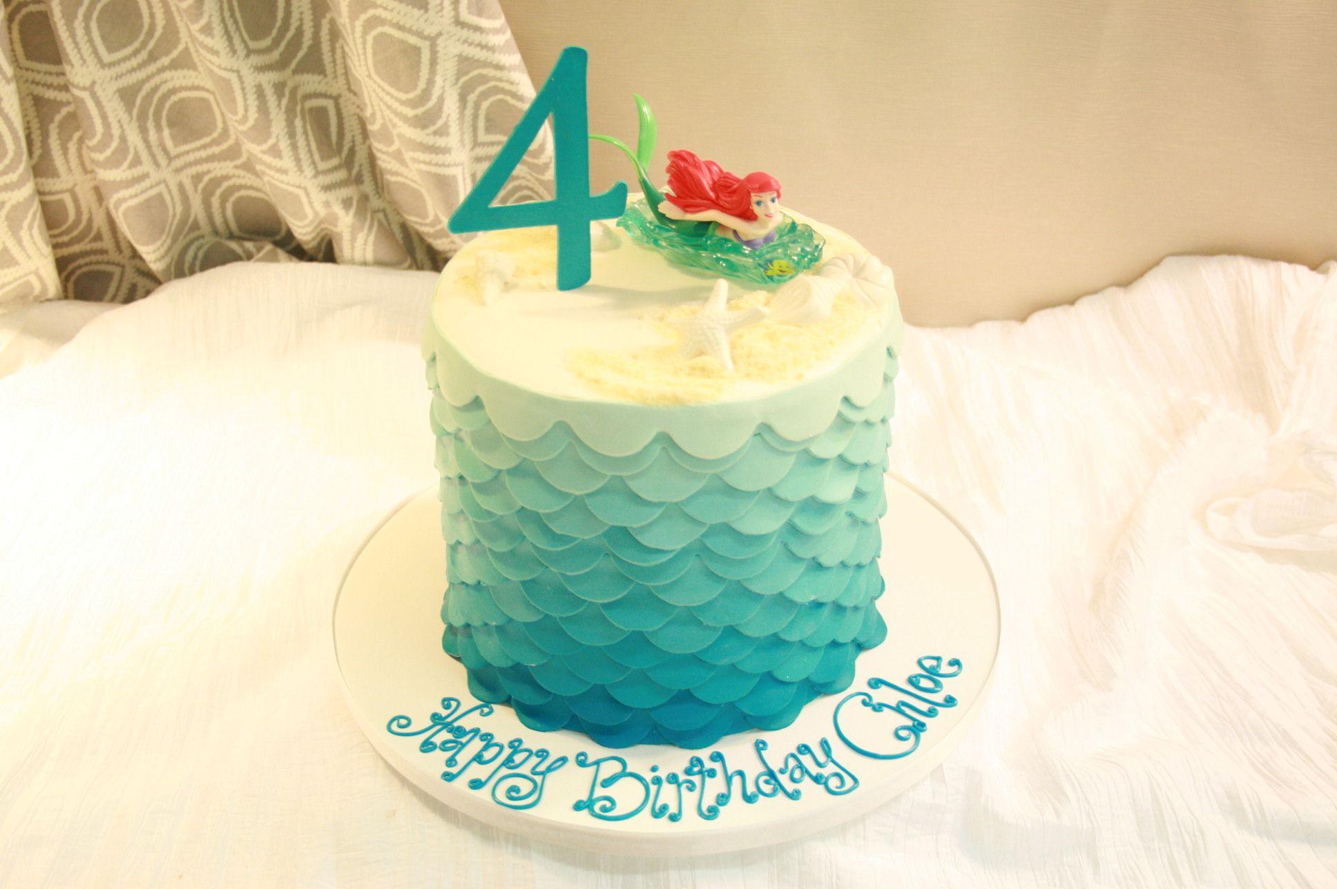 Little Mermaid themed birthday cake. Dessert Works Bakery. Westwood, MA
